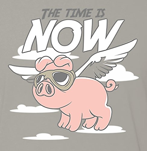 Panoware-Mens-The-Time-Is-Now-When-Pigs-Fly-Funny-T-Shirt-0-0
