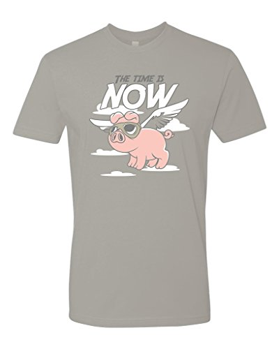 Panoware-Mens-The-Time-Is-Now-When-Pigs-Fly-Funny-T-Shirt-0