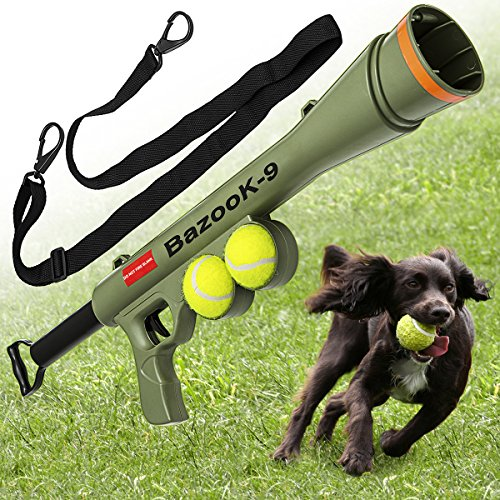 BazooK-9-Tennis-Ball-Launcher-Gun-Rated-Best-Dog-Toy-Includes-2-Squeaky-Balls-for-a-Bazooka-Semi-Automatic-Blast-0-0
