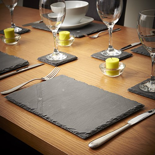 VonShef-8-Piece-Set-4-x-Placemats-4-x-Coasters-Natural-Slate-0-0