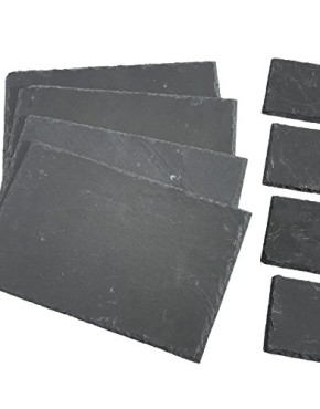 VonShef-8-Piece-Set-4-x-Placemats-4-x-Coasters-Natural-Slate-0