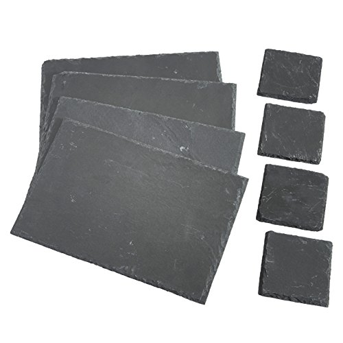 VonShef-8-Piece-Set-4-x-Placemats-4-x-Coasters-Natural-Slate-0