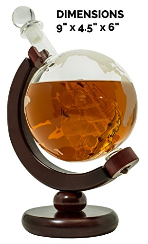 Whiskey-Decanter-for-Spirits-or-Wine-650mL-Decorative-Etched-Glass-Globe-Design-Dark-Finished-Wood-Stand-Handcrafted-Quality-Includes-Bonus-Bar-Funnel-0-0