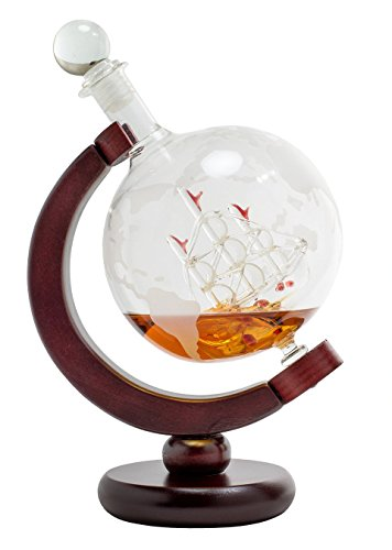Whiskey-Decanter-for-Spirits-or-Wine-650mL-Decorative-Etched-Glass-Globe-Design-Dark-Finished-Wood-Stand-Handcrafted-Quality-Includes-Bonus-Bar-Funnel-0-1