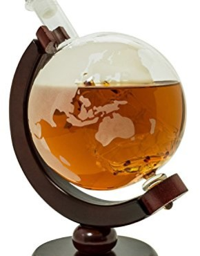 Whiskey-Decanter-for-Spirits-or-Wine-650mL-Decorative-Etched-Glass-Globe-Design-Dark-Finished-Wood-Stand-Handcrafted-Quality-Includes-Bonus-Bar-Funnel-0