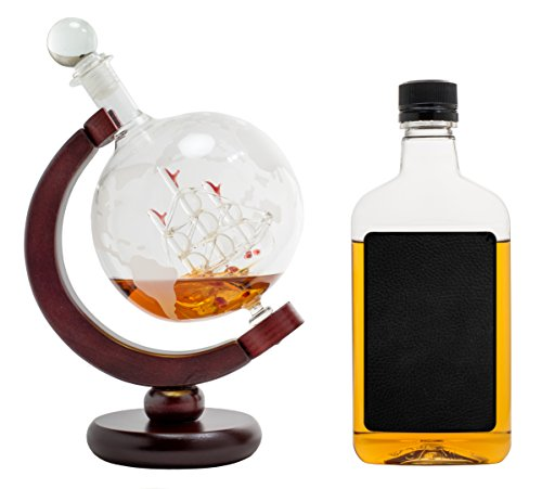 Whiskey-Decanter-for-Spirits-or-Wine-650mL-Decorative-Etched-Glass-Globe-Design-Dark-Finished-Wood-Stand-Handcrafted-Quality-Includes-Bonus-Bar-Funnel-0-3