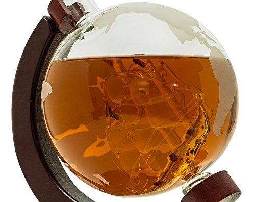 Whiskey-Decanter-for-Spirits-or-Wine-650mL-Decorative-Etched-Glass-Globe-Design-Dark-Finished-Wood-Stand-Handcrafted-Quality-Includes-Bonus-Bar-Funnel-0-4